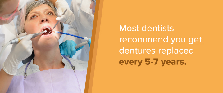 replace dentures every 5-7 years